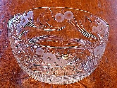 Antique Thomas Webb Art Glass Cuyt Crystal Bowl In The Jewel Pattern Signed
