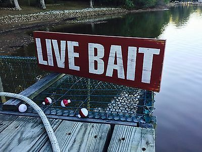 "Large Rustic Wood Sign - ""Live Bait"" Vintage, Man, Outdoor, Fish"