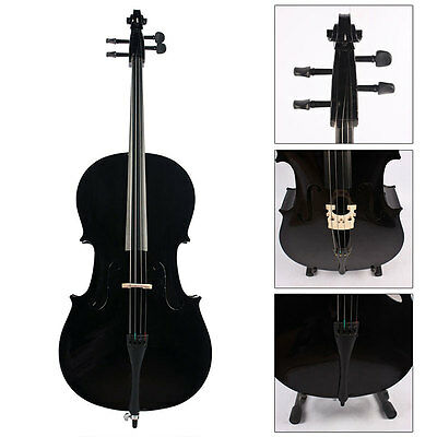 Uk Quality Handmade Classic 4/4 Size Student Black Cello With Case & Bow & Rosin