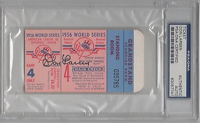Don Larsen Psa/dna Signed 1956 New York Yankees World Series Ticket Autographed