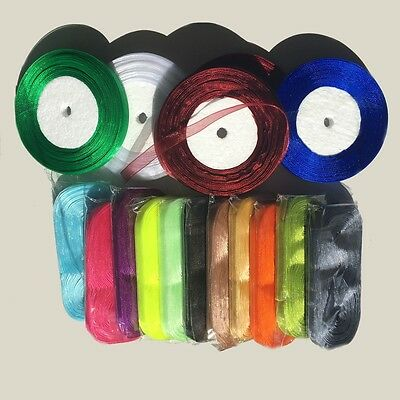 "5yds Organza Ribbon 10mm 3/8"" scrapbook sewing craft wedding lingerie #203"