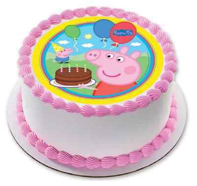 Peppa Pig Edible Birthday Party Cake Decoration Topper Round Image