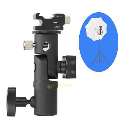E-Type Flash Hot Shoe Bracket Tripod Umbrella Holder Light Stand Adapter Black