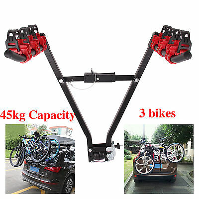 3 Bicycle Carrier Car Rack Metal Universal Fits Most Cars Rear Mount Upright