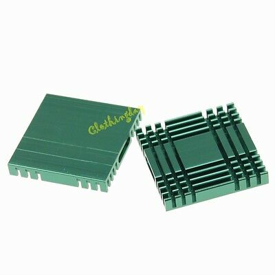 2pcs Lot Green 37mm 37x37x6mm Aluminum Heatsink Cooling Cooler heat sink new