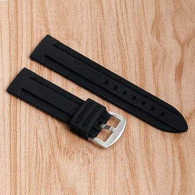 20/22/24/26/28mm Watch Strap Black Soft Band Waterproof Outdoor Rubber Silicone