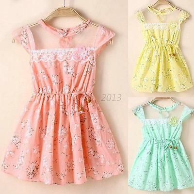 5 Sizes Baby Kid Girl Lovely Lace Floral Princess Dress Party Summer Dresses B69