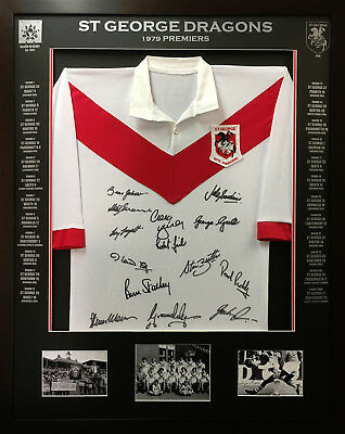 Blazed In Glory - 1979 St George Dragons Premiers - NRL Signed and Framed Jersey