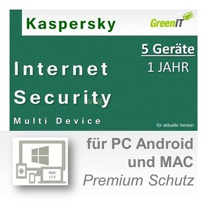 Kaspersky Internet Security Multi Device 5 ESD Download 1 Jahr g.f 2017/2016