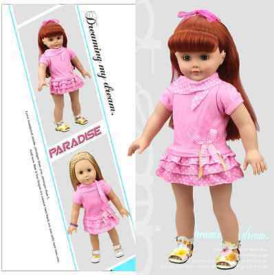 Hot sell! Handmade Clothes Dress Fits 18 inch American Girl Doll  QYF-14#