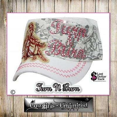 Cowgirl Couture Military Cadet Cap 'turn N' Burn' Crystal Embroidered ~ White