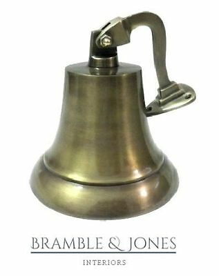 "7"" Vintage Heavy Ship Pub Bell With Hanging Bracket For School Top Brass"