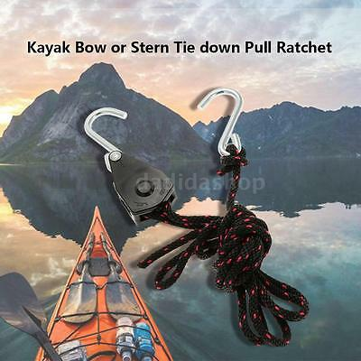 New Kayak Canoe Bow or Stern Tie down Pull Ratchet Rope Ratchet with Hook Q3B7