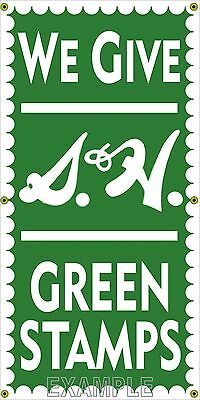 S & H Green Stamps Old School Sign Remake Banner Grocery General Store Art 2 X 4