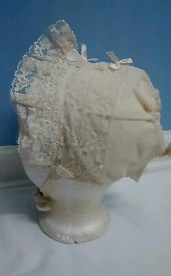 Vintage Satin & Lace Ivory Baby Bonnet With Ribbon Doll