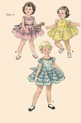 Vintage 1950's Sewing Pattern Girl's Pretty Frilly Party Dress Ruffles Size 4