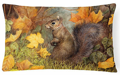 Grey Squirrel in Fall Leaves Fabric Decorative Pillow