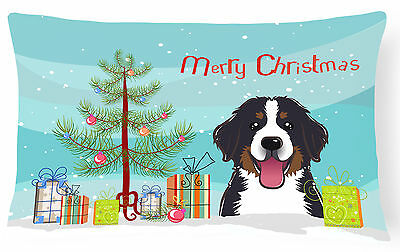 Christmas Tree and Bernese Mountain Dog Fabric Decorative Pillow