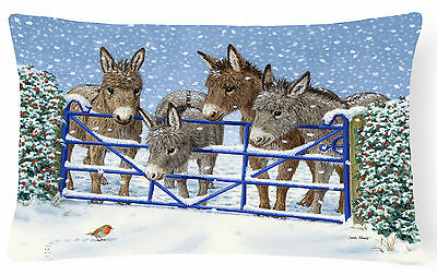 Donkeys and Robin at the Fence Fabric Decorative Pillow