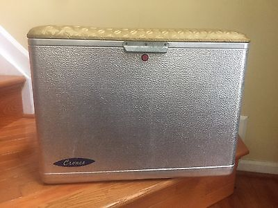 Vintage Cronstroms Cronco Aluminum Cooler Padded Lid Seat Ice Chest