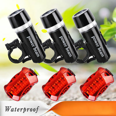 3 x Waterproof Lamp Bike Bicycle Front 5 LED Head Light + Rear Safety Flashlight
