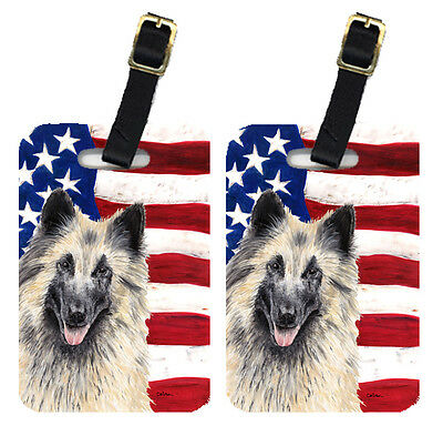 Pair of USA American Flag with Belgian Tervuren Luggage Tags