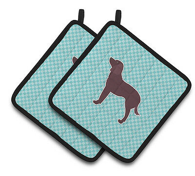 American Water Spaniel  Checkerboard Blue Pair of Pot Holders