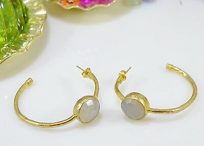OttomanGems semi precious gem stone gold plated hoop earrings Chalcedony
