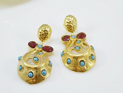 OttomanGems semi precious gem stone gold plated earrings Turquoise handmade