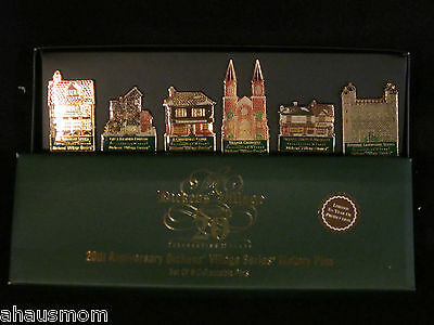 Department 56 2003 Dickens Village Series 20Th Anniversary 6 Collectable Pins Bn