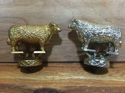 1950s Hereford Bull Cowboy Trophy Dodge Inc Heavy Cast Metal Gold Silver Topper