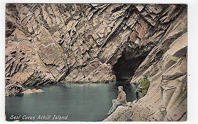 SEAL CAVES, ACHILL ISLAND: Co Mayo Ireland postcard (C7936)