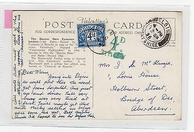 THE QUEEN'S OWN CAMERON HIGHLANDERS: postcard with postage due stamp (C6728)