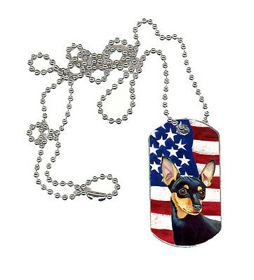 Carolines Treasures  LH9004DT USA American Flag with Min Pin  Dog Tag