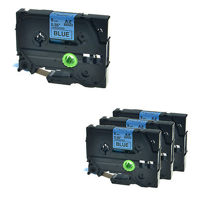 """4PK TZ-521 TZe-521 3/8"""" Black on Blue Lable Tape For Brother P-touch 2730 2730VP"""
