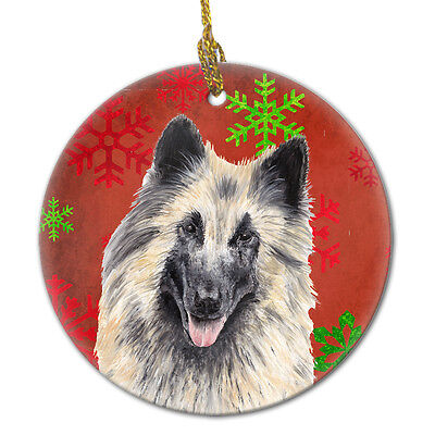 Belgian Tervuren Red Snowflakes Holiday Christmas Ceramic Ornament SC9432