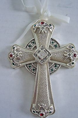 Towle Jeweled Silver Plated Celtic Cross Ornament