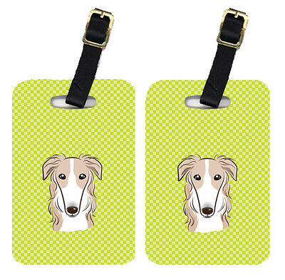 Pair of Checkerboard Lime Green Borzoi Luggage Tags