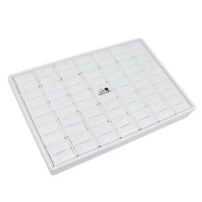 Medium Size Stackable 35 Slot White Faux Leather Ring Tray