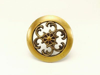 Vintage Brass Ornate Round Floral Flower Drawer Pull #1301