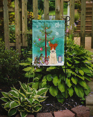 Merry Christmas Tree Wire Fox Terrier Flag Garden Size