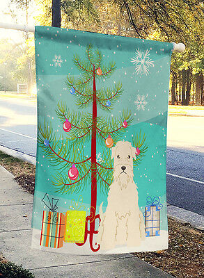 Merry Christmas Tree Soft Coated Wheaten Terrier Flag Canvas House Size