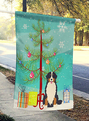 Merry Christmas Tree Bernese Mountain Dog Flag Canvas House Size