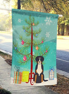 Merry Christmas Tree Greater Swiss Mountain Dog Flag Canvas House Size