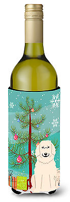 Merry Christmas Tree Great Pyrenese Wine Bottle Beverge Insulator Hugger