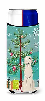 Merry Christmas Tree Irish Wolfhound Michelob Ultra Hugger for slim cans