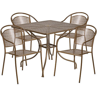 35.25'' Square Gold Indoor-Outdoor Patio Resturant Table Set w/4 Chairs