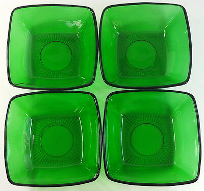 "Lot of 4 Anchor Hocking Charm Forest Green Square Berry Bowls 4.7"" 1950s"