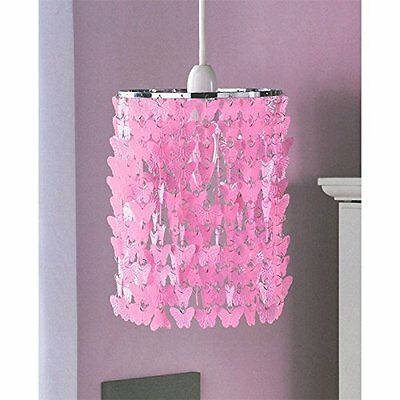 Girl''s Bedroom Pendant Light Fitting Butterfly Chandelier - Pink