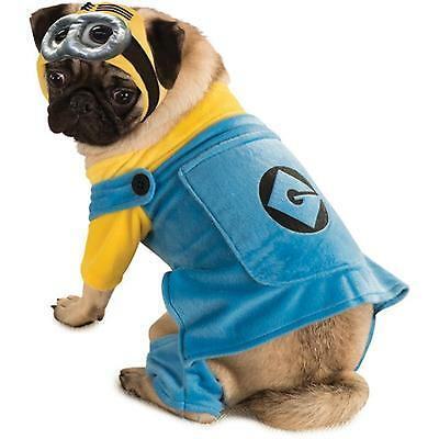 New Minion Dog or Cat Costume Halloween Pet Outfit Despicable Me Choose: S M L